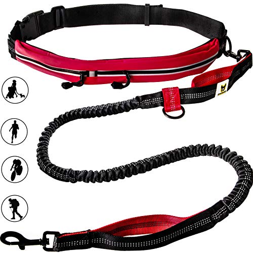 Hundefreund Joggingleine mit Bauchgurt Rot   Elastische Sportleine 120 bis 180 cm für mittelgroße und große Hunde   Freihändig Joggen Laufen Radfahren Wandern
