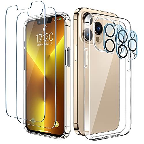 LK Kompatibel mit iPhone 13 Pro Hülle 6,1 Zoll, 2 Displayschutz Schutzfolie & 2 Kamera Schutzfolie, 9H HD Klar Displayschutz Blasenfrei, Weiche TPU Silikon Case Cover - Transparent