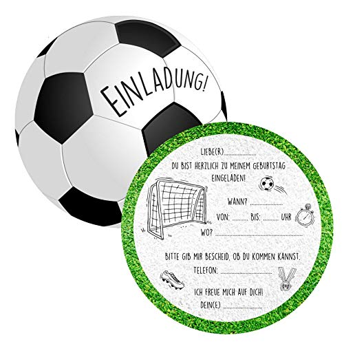 Gentle North 15 x Fussball Einladungskarten Kindergeburtstag (15cm) - Coole Fußball Einladung zum Kinder Geburtstag für Jungen und Mädchen - Witzige Einladungskarte zur Geburtstagsfeier - Rund