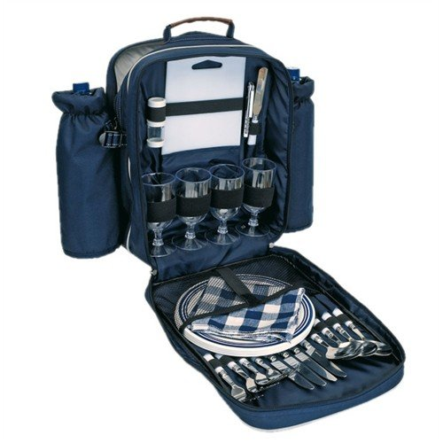 anndora Picknick Rucksack Picknicktasche Kühltasche Kühlfach + Geschirr Besteck blau
