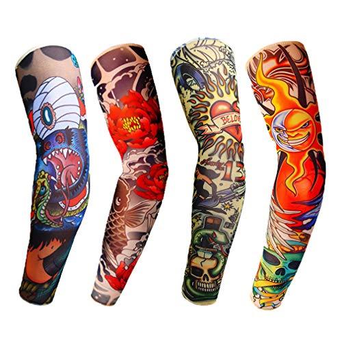 Arm Sleeves Armwärmer Ärmlinge,Tattooärmel Tätowierung,Tatoo Ärmlinge,Tattoo Armstulpen UV-Sonnenschutz für Unisex für Radsport Golf Basketball Fahren Sport Arm-Kompressions-Hülsen - 4 Stück