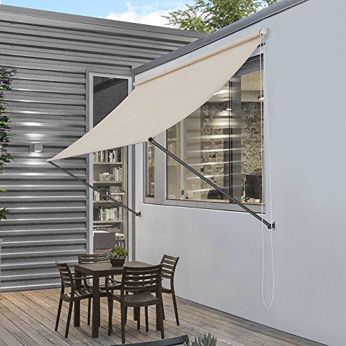 pro.tec] Markise 350 x 120 cm in Sandfarben Witterungsbeständig Sonnenschutz Beschattung Terrasse Garten