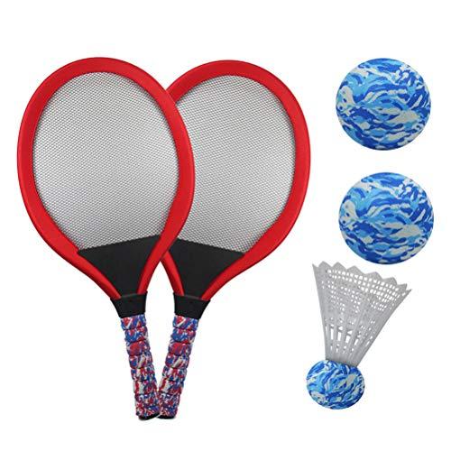 YIMORE Kinder Schläger Set mit Federball Tennisball, Badminton Tennisschläger Racket Spielzeug für Kinder ab 3 Jahren (Rot)