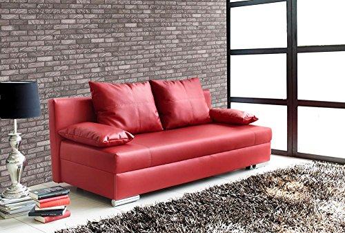 lifestyle4living Sofa mit Schlaffunktion und Bettkasten in Rot | Pflegeleichtes Kunstleder Schlafsofa mit Kissen