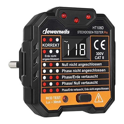 DEWENWILS Steckdosentester mit RCD-Prüfung und LCD-Voltage-Display, Kontrollleuchten-Anzeige, FI Test, 48-250V/45-65Hz, CAT ll 300V, CE-Zertifiziert