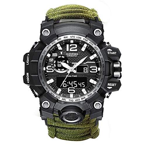 Outdoor Survival Armbanduhr, 5 in 1 wasserdichte Digitale Herren-Militäruhren mit Paracord-Seil, Pfeife, Kompass, Feuerstarter, für Wandercamping-Abenteuer (Green A)