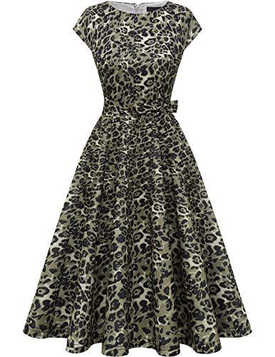 DRESSTELLS Damen 1950er Vintage Retro Rockabilly Petticoat Kleid Festliches Partykleider Cocktailkleid Midilang Brown Leopard L