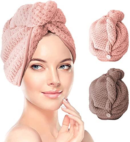 Haarturban, RenFox Turban Handtuch mit Knopf, Microfaser Handtuch für die Haare Schnelltrocknend, Haartrockentuch Saugfähig Super Absorbent, Haar Trocknendes Tuch für Alle Haartypen (2pcs)