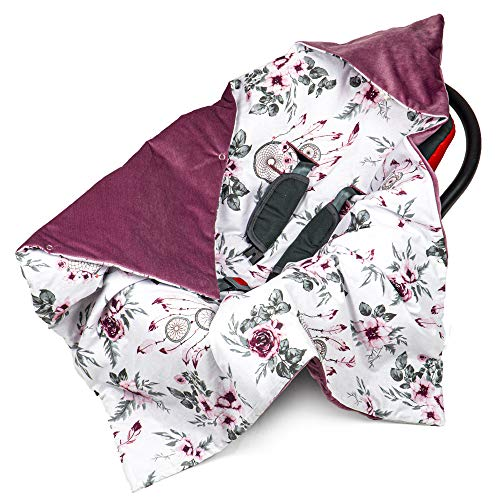 Einschlagdecke Babyschale 90x90 cm Velvet - universal Frühling Sommer Baby Babydecke z. B. für Maxi Cosi Buggy Autositz Baumwolle Öko-Tex (Rose Velvet mit Traumfänger)