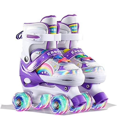 Sumeber Verstellbar Rollschuhe für Kinder,mit Leuchtenden Rädern Roller Skates Bequem und atmungsaktiv Quad Skates für Mädchen Rosa (Lila-S)…