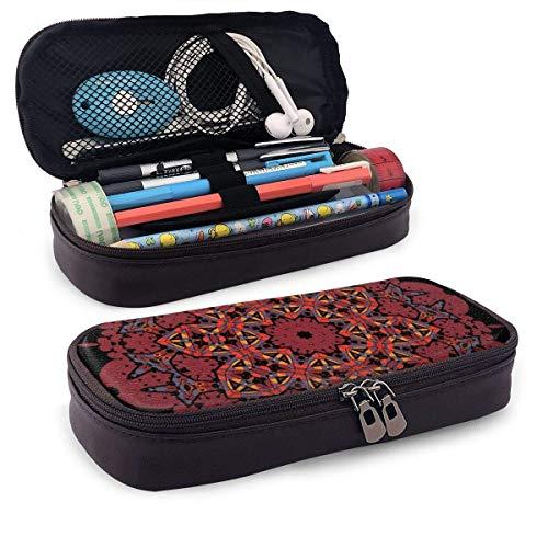 Ornamental Buntes Mandala aus rotem Leder Bleistiftetui mit Reißverschluss, PU-Leder Bleistifthalter Pen Case Couch