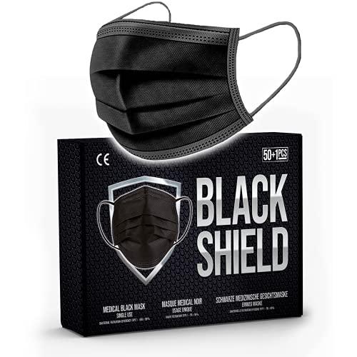 BLACK SHIELD - CE Zertifiziert - Schwarze Medizinische Gesichtsmaske gemäß DIN EN 14683 Typ I - EFB ≥ 95% - 51 Stück