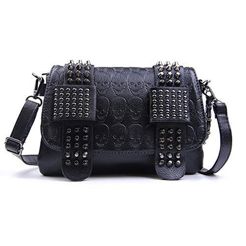 EVEOUT Damen Style Umhängetasche Pu-Leder mit Totenkopf-Print Handtasche Schwarz Lange Geldbörse Schulter Geldbörse
