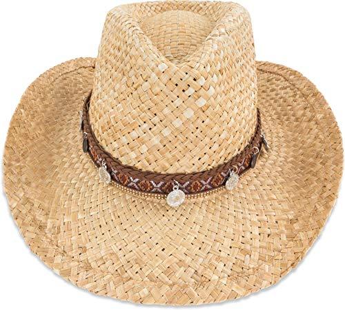 normani Cowboy Strohhut aus 100% natürlichem Stroh Farbe Ahtna Größe 55-57