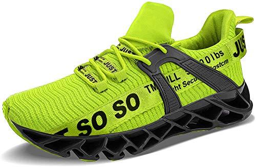 Acreat Herren Laufschuhe Turnschuhe Atmungsaktive Sportschuhe Leichte Running Schuhe Bequeme Fitnessschuhe Casual Sneaker,111 Grün,41 EU