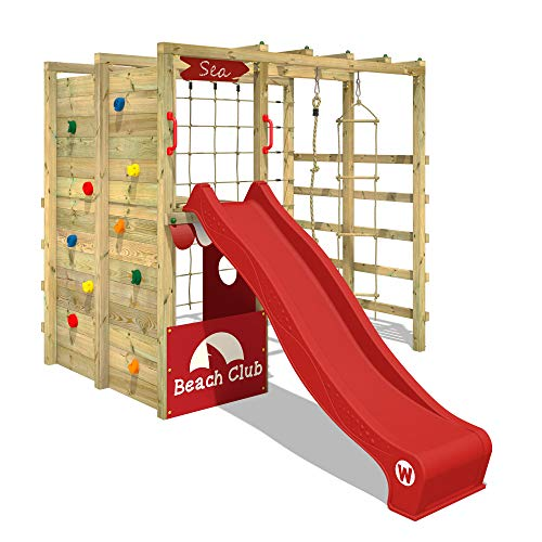 WICKEY Klettergerüst Spielturm mit Kletternetz, Kletterwand Kletterleiter 'Smart Allstar' - rote Rutsche, rote Plane