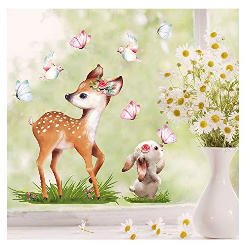 Wandtattoo Loft Fensterbild Frühling Ostern wiederverwendbar Fensteraufkleber Kinderzimmer/REH u. Hase (1147) / 1. DIN A4 Bogen