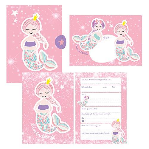 12 Glitzer Einladungskarten Meerjungfrau zum Geburtstag für Mädchen inkl. Umschläge   rosa glitzernde Geburtstagseinladungen für Kinder  : Einladungen ... Anlass + Kindergeburtstag, Übernachtungsparty