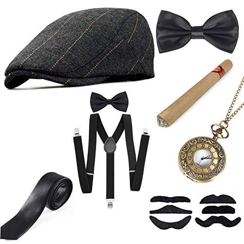 Sinoeem 1920s Accessoires Set Damen Retro Stil und Herren Accessoires Mafia Gatsby Kostüm Set für Abschlussball Event Weihnachten Party der 1920s Jahre Gatsby Art Deco Flapper Party (Set-A)