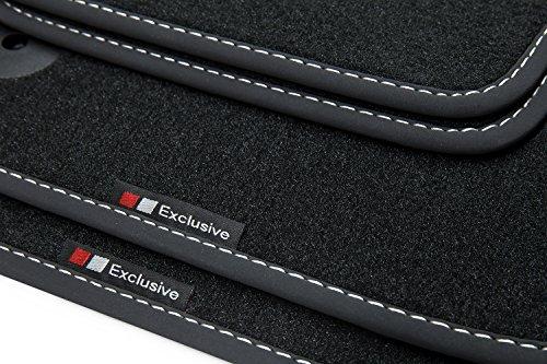 teileplus24 EF129 Fußmatten Gummimatten Exclusive-line Design für VW Golf Plus 5 6 Cross 2005-2014, Naht:Silber