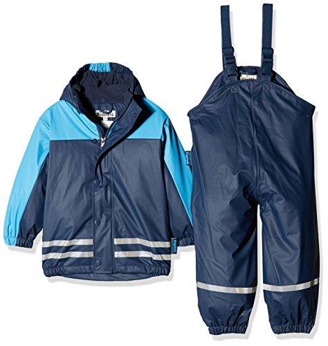 Playshoes Regenanzug-Set mit Fleece gefüttert, Jungen Matsch-Anzug 2-teilig, wind- und wasserdicht, Blau (Marine 11), 104