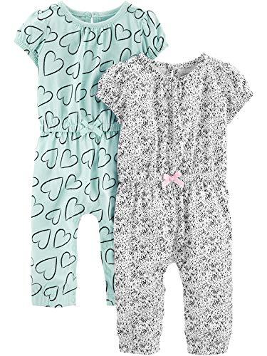 Simple Joys by Carter's Baby Mädchen 2er-Pack Jumpsuits ,Blue Hearts/Gray ,24 Months
