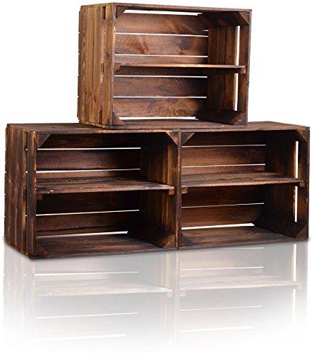 CHICCIE 3 Set Holzkiste im Vintage Look - Kiste Lange Ablage Geflammt Dunkel - Obstkiste Dekokiste