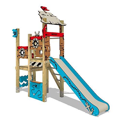 Klettergerüst aus Massivholz WICKEY PRO MAGIC Wave+ mit Rutsche, Kletternetz und Reckstange - Für den öffentlichen Bereich - Ideal geeignet für Kita, Schule, Hotel, Restaurant & Campingplatz