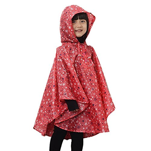 LOSORN ZPY Kinder Mädchen Stern Regenjacke Regenmantel mit Kapuze Wasserdicht Softshelljacke Regenponcho rot L(125-150 CM)