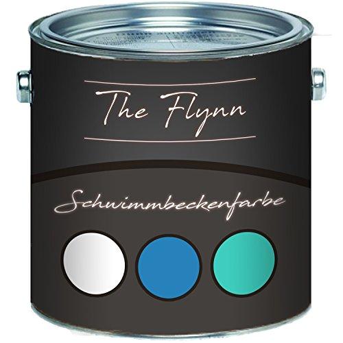 The Flynn Schwimmbeckenfarbe auserlesene Poolfarbe in Blau Weiß Grün Schwimmbad-Beschichtung Betonfarbe Teichfarbe (2,5 L, Weiß)