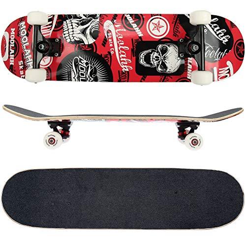 FunTomia Skateboard mit ABEC-9 Kugellager Rollenhärte 100A und 100% 7-lagigem kanadisches Ahornholz (Rot Totenkopf)