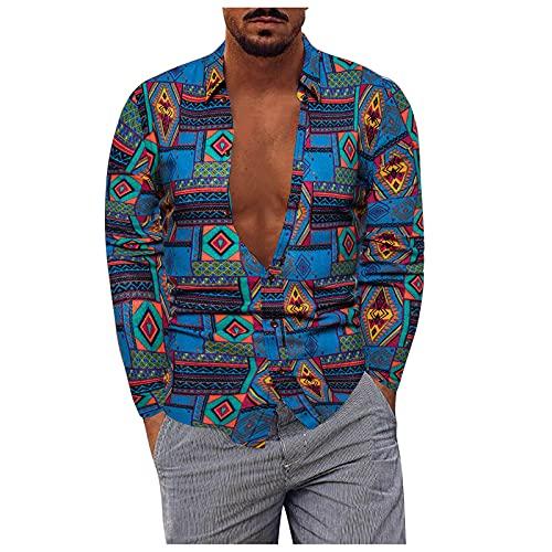 BIBOKAOKE Herren Langarmhemd Leinenoptik Hawaiihemd Regular Fit Freizeithemd Mode Vintage Druck Revers Hemden Casual Strandhemd Sommer Lang Muscle Shirt ArbeitsHemd Coole Männer Essentials