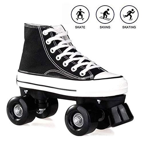 Rollschuhe für Damen und Herren, Discoroller Erwachsene komfortable LED Rollerskates Quad Skating Outdoor für Mädchen und Jungen,Schwarz,40 WOERD