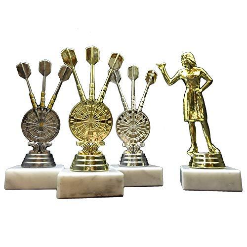 RaRu 3 Dart-Pokale (Gold, Silber, Altsilber) Dame mit Ihrer Wunschgravur