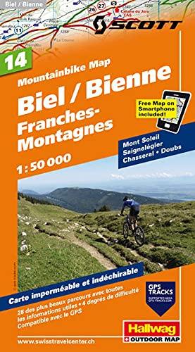 Mountainbike-Karte 14 Biel-Bienne, Berner Jura 1 : 50 000: Monte Soleil, Saignelégier, Chasseral, Doubs, Mit den schönsten 28 Touren, 5 ... included (Hallwag Mountainbike-Karten)