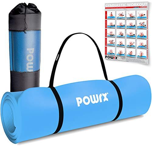 POWRX Gymnastikmatte Premium inkl. Trageband + Tasche + Übungsposter GRATIS I Hautfreundliche Fitnessmatte Phthalatfrei 190 x 60, 80 oder 100 x 1.5 cm I versch. Farben Yogamatte (Blau, 190 x 60 x 1.5