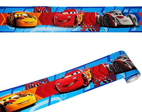 alles-meine.de GmbH Wandbordüre - selbstklebend -  Disney Cars  - 5 m - Wandsticker / Wandtattoo - Bordüre Aufkleber Kinderzimmer - für Kinder Jungen - Lightning MccQueen / AUT..