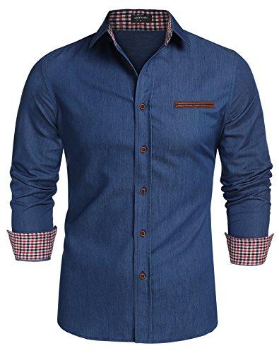 Coofandy Jeanshemden Herren regular fit Denim Shirt Langarmhemd Cowboy-Style Freizeit Hemden , Farbe - Skyblue , Gr. L