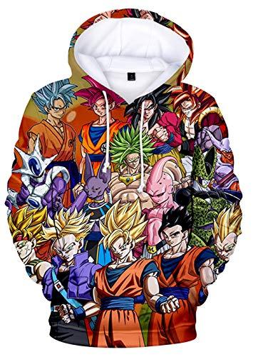 HAOSHENG Jungen Kapuzenpullover 3D Anime-Druck Japanischer Pullover Kakarotto Super Son Goku Cosplay Hoodie(S)