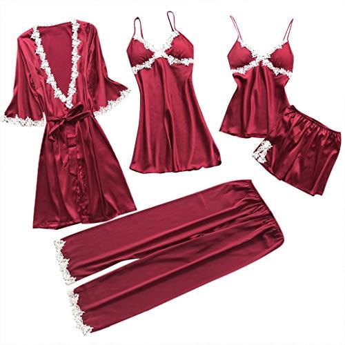 Schlafanzug Damen Sommer Unterwäsche Damen Set Sexy Bademantel Spitze Schlafanzug Hose Kurz Jumpsuit Nachtwäsche Nachtwäsche Baby Mädchen Skiny Nachtwäsche(Wein,M)