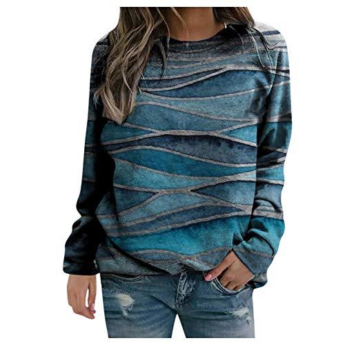 Frauen Pullover Casual Stripe Tie-Dye Print Sweatshirts Thermal Rundhalsausschnitt Langarm T-Shirts Loose Tops Bluse(XXXL,Hellblau)