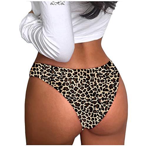 Dasongff Damen Invisibles Thong Panty Stringhöschen Tanga ohne Nähte Slips in S-XL Leopard Sexy Seamless Atmungsaktive High-Stretch Ultra-Silky String Unterhose Hipster