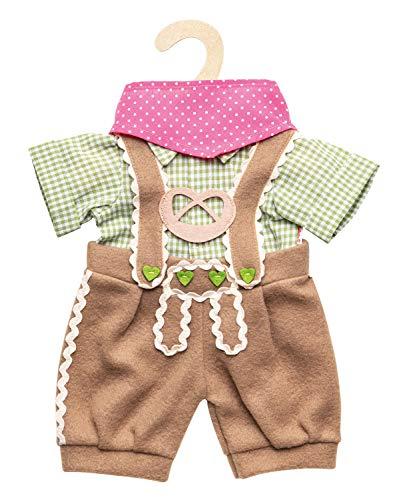 Heless 1114 - Bekleidungs-Set für Puppen, 3 teilig mit Trachtenhose, Hemd und Halstuch, Größe 28 - 35 cm