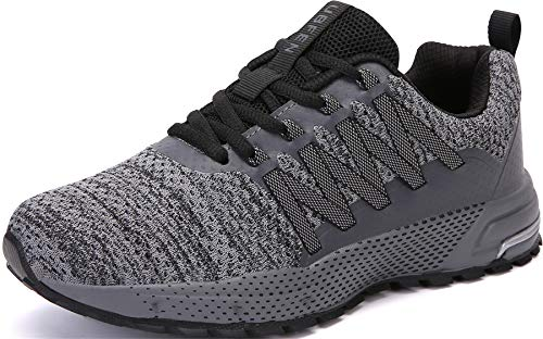 SOLLOMENSI Laufschuhe Damen Herren Sportschuhe Straßenlaufschuhe Sneaker Joggingschuhe Turnschuhe Walkingschuhe Schuhe 44 EU H Grau