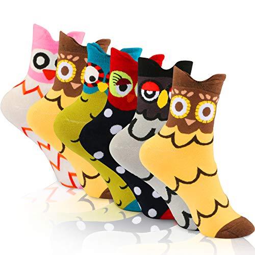 WOSTOO Damen Socken, 6 Paar Socken Damen süße Interessante Tier Charakter Eule Funny Crew Socken, Einheitsgröße