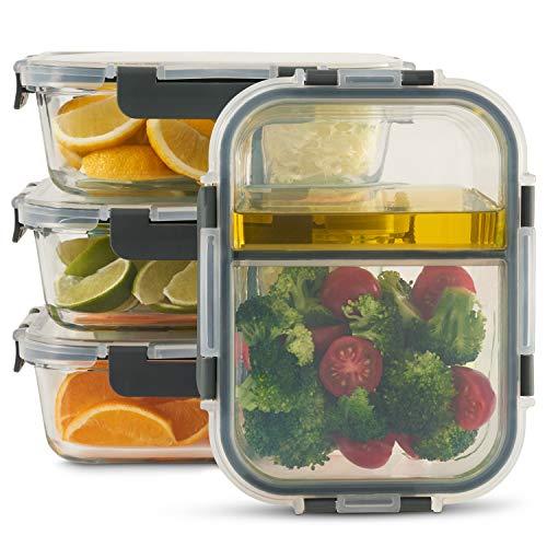 Zoë&Mii 4er Set Vorratsbehälter und Frischhaltedosen, je 1050 ml, innen zweigeteilt, luftdicht und auslaufsicher, kühlschrank-, offen- und mikrowellengeeignet, spülmaschinengeeignet