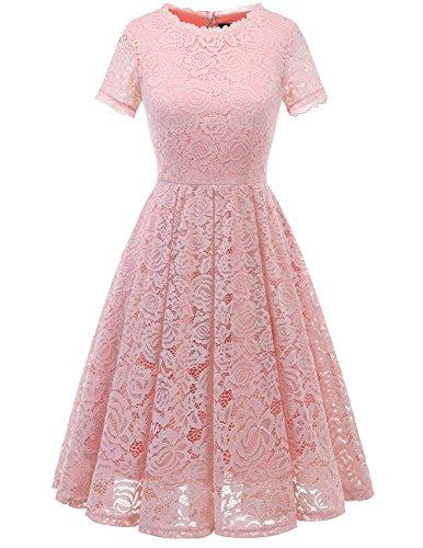 DRESSTELLS Damen Rosa Abendkleid midilang Elegant Spitzen Cocktailkleid kurz Arm Brautjungfernkleid Blush S
