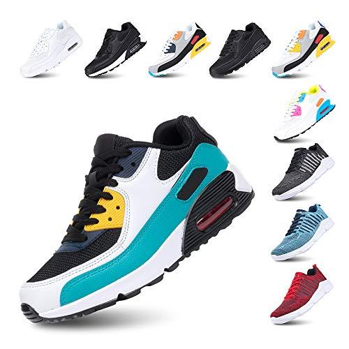 Laufschuhe Herren Damen Turnschuhe Licht Dämpfung Air Sportschuhe rutschfest Atmungsaktiv Fitness Sneakers E-Grün 43