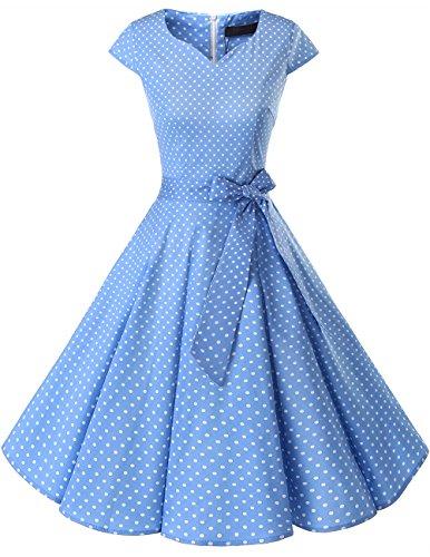 Dresstells Damen Vintage 50er Cap Sleeves Rockabilly Swing Kleider Retro Hepburn Stil Cocktailkleid Blue Small White Dot M