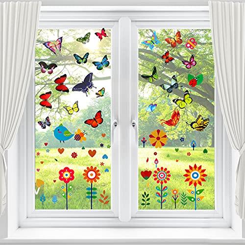 69 Stück Fensterbilder Frühling Selbstklebend, Schöne Fensterbilder Schmetterlinge, Fenstersticker Kinderzimmer, Fensterbild Blumen Die Verhindern Dass Verhindern Vogelschläge